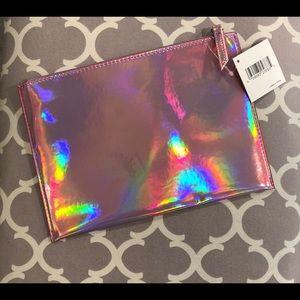 Handbags - NWT: Pink Holographic Makeup Bag